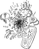 Phone sketchy doodles Coloring vector Royalty Free Stock Photo