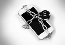 Smartphone with combination lock padlock on white. Phone smart lock combination padlock white silver Royalty Free Stock Images