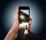 Phone, Smart Phone, Girl, Road Royalty Free Stock Images