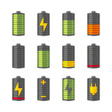 Phone or smartphone battery icons with various charges from fully charged to empty. Isolated on the white background Stock Images