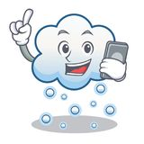 With phone snow cloud character cartoon Royalty Free Stock Photo