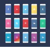 Phone with social media logos Royalty Free Stock Image