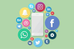 Phone with social media logos Royalty Free Stock Photos