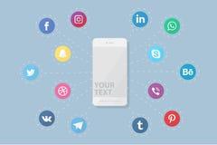 Phone with social media logos Royalty Free Stock Photo