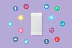 Phone with social media logos. Vector phone with social media logos. Flat design Royalty Free Stock Images