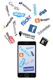 Phone and social network logos Stock Photo