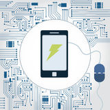 Phone, socket and electronics circuit. Electronics circuit background. Phone with a plug plugged in and lightning symbol on the monitor Stock Image