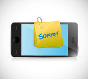 Phone with a sorry message written on a post. Royalty Free Stock Photography