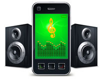 Phone with speakers on white. Mobile phone with speakers and music sing on the screen on white,  illustration Royalty Free Stock Photo