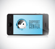 Phone with support center. illustration design Royalty Free Stock Image