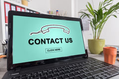 Phone support concept on a laptop Stock Image