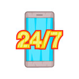 24 7 phone support icon, cartoon style. 24 7 phone support icon in cartoon style on a white background Stock Photo