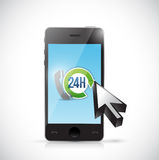 24 7 phone support illustration design. Over a white background Royalty Free Stock Photo
