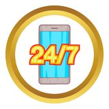 24 7 phone support vector icon. In golden circle, cartoon style isolated on white background Royalty Free Stock Photography