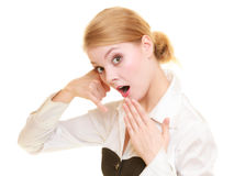 Phone. Surprised businesswoman making call me gesture Royalty Free Stock Images