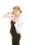 Phone. Surprised businesswoman making call me gesture Royalty Free Stock Image