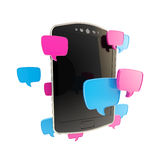 Phone surrounded with chatting icons Royalty Free Stock Photo