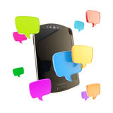 Phone surrounded with chatting icons Stock Image