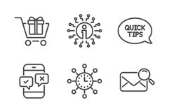 Phone survey, Quickstart guide and Info icons set. World time, Shopping cart and Search mail signs. Vector. Phone survey, Quickstart guide and Info icons simple royalty free illustration