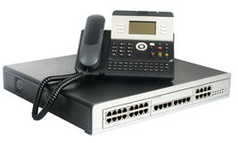 Phone switch and telephone Royalty Free Stock Images