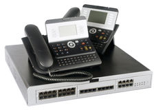 Phone switch and telephones Stock Image