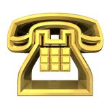 Phone symbol in gold - 3D Royalty Free Stock Images