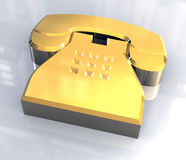 Phone symbol in gold - 3D Stock Photography