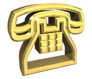 Phone symbol in gold - 3D Stock Images