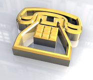 Phone symbol in gold - 3D Stock Image