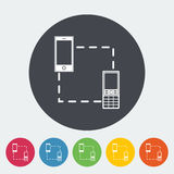 Phone sync single icon. Phone sync. Single flat icon on the circle. Vector illustration Stock Images