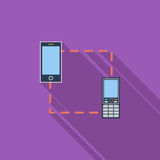 Phone sync single icon. Phone sync icon. Flat vector related icon with long shadow for web and mobile applications. It can be used as - logo, pictogram, icon Royalty Free Stock Photography