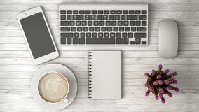 Phone on the table, coffee and notebook 3d illustration Royalty Free Stock Photography