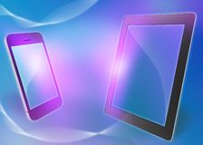 Phone and tablet on an abstract background. Royalty Free Stock Photo