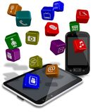 Phone tablet apps Stock Image