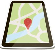 Phone or tablet with a green map and red pointer, design element Stock Photo