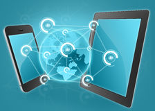 Phone and tablet with icons of people Stock Photo