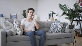 Phone Talk, Adult Man Attending Call at Work. High quality Stock Image