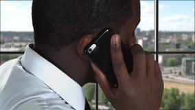Phone talk on city background. stock video