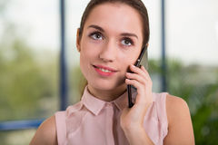 Phone talk with client Stock Photo