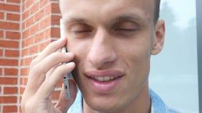 Phone Talk, Face Close Up. Creative designer , businessman stock video