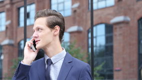 Phone Talk, Negotiation about New Project by Happy Businessman stock video footage