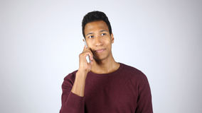 Phone Talk by Young Afro-American Man, Negotiation, Communication Royalty Free Stock Images