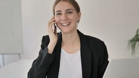 Phone Talk by Young Businesswoman, Negotiation stock footage