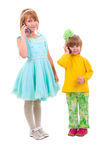 Phone Talking Little Girls. Stock Photos