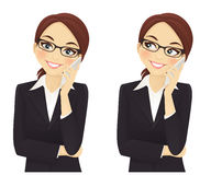 Phone talking. Smiling business woman phone talking vector illustration