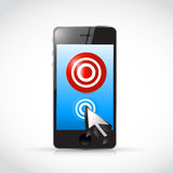 phone target and cursor. illustration Royalty Free Stock Photo
