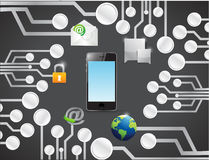Phone technology network connection circuit Royalty Free Stock Photo