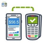Phone and terminal payment flat vector icon. Icon of mobile payments with terminal Stock Photo
