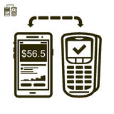 Phone and terminal payment  icon. Icon of mobile payments with terminal Stock Photo