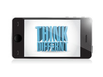 Phone. think different 3d text illustration design Stock Photography